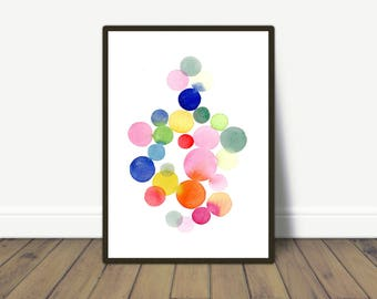 Colorful Wall Art, Nursery Room Wall Art, Baby Boy or Girl Nursery Decor, Abstract Watercolor Print