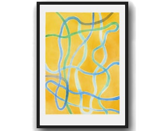Yellow Abstract Minimalist wall art, Abstract Lines painting, Minimal Print, minimalist art