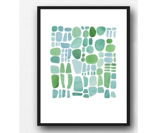Original Watercolor Painting Sea Glass Art, Original Painting Watercolor turquoise, green, blue watercolor little painting