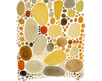 Yellow pebbles Fine art print giclee Watercolor painting abstract painting