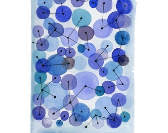 original artwork, Abstract little original painting, Constellation, Original watercolor painting blue geometric