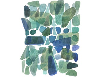 Sea Glass Wall Decor, Bathroom Art, Watercolor Painting Green Emerald Art