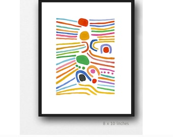 Colorful Abstract Art Print, fresh bold colors, modern Wall  Art