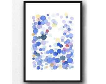 Minimalist Nursery room, Watercolor Painting, blue drops, Abstract Painting, Watercolor Print