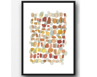 Modern Art painting, Watercolor painting orange, Autumn Path, watercolor print, abstract watercolor painting