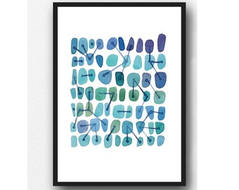 modern wall art, Abstract watercolor blue watercolor painting, connections, watercolor art print geometrical painting