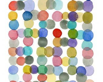 Abstract watercolor print with colored circles, Colorful art print by Louise van Terheijden, Happy art for nursery room.