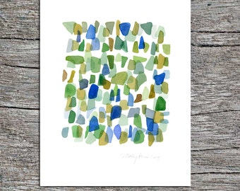 Original watercolor painting, Sea glass Art painting, Abstract painting , green-blue beach finds