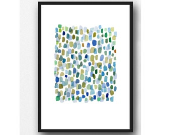Rain, Abstract Watercolor Art Print,  Watercolor Art Blue Green Drops
