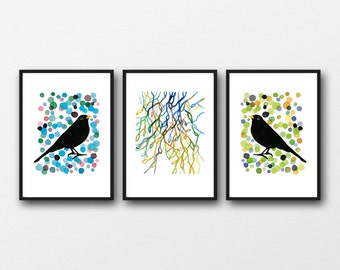Set of 3 Prints, Gift for Bird Lover, New home Housewarming Gift, Watercolor Prints Blackbirds