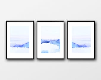 Abstract Landscape Wall Art, Set of 3 Prints,Triptych, Blue Landscape Painting