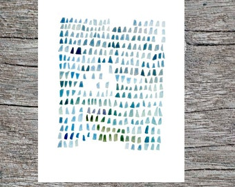 Sea Glass Watercolor nautical painting Seaglass Abstract watercolor painting blue green aqua