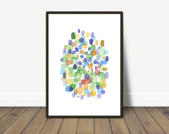Colorful Wall Art, Abstract Watercolor Print, Contemporary Art