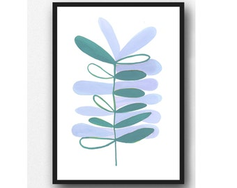 Scandinavian Art, Plant Motive, Leaves, Watercolor Print, Modern Minimalist Wall Art, Kitchen Decor