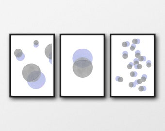 Abstract Watercolor Prints Set, Moon Phase, Set of 3 Prints, Abstract Modern Living Room Decor, Minimalist Art