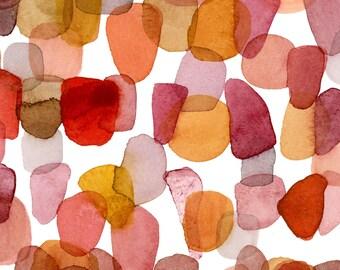 Burnt Orange Abstract Watercolor painting, Watercolor Art Print, Pebble Art