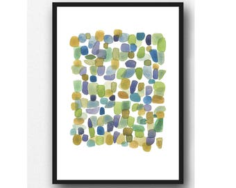 Abstract Watercolor Art Print Pebbles Art | Watercolor Painting Beach House decor
