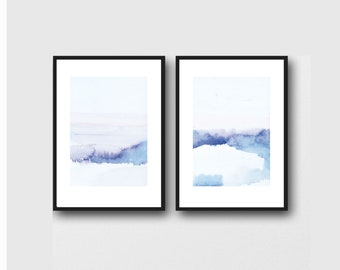 Abstract Landscape, Landscape watercolor Painting, Landscape Wall Art, Watercolor wall art, Set of 2 Prints