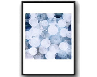 White Blue Painting,  Giclee Print Blue and White Art