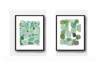 Set of 2 Abstract Paintings, Watercolor Prints, Green Wall Art  by Louise van Terheijden