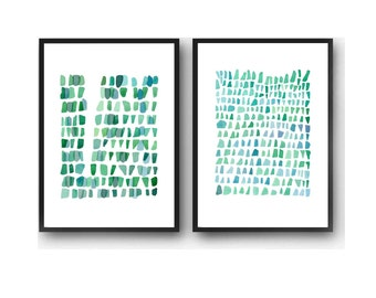 Abstract Watercolor paintings, blue green painting set of two watercolor prints Nautical home decor