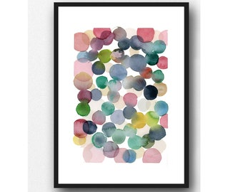 watercolor bubbles, Abstract painting Watercolor print, pink bubbles, Nursery room decor, giclee art print, watercolor painting