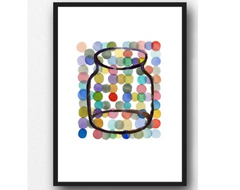 Colorful Kitchen Art Print, Happy Home décor, Jar painting