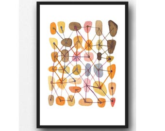 Orange watercolor Print, Abstract Watercolor Painting, Office Decor Connections, West Elm