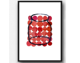 Red Circles, Modern Kitchen Art, Bright Colorful Print, Affordable Art, Gift For Daughter