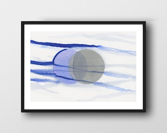 Blue Moon Art Print, Abstract Watercolor Print, Abstract Minimal Bedroom Art, Minimalist Art