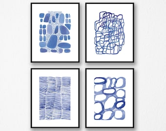 Set of 4 Blue Watercolor Prints, Nautical home decor, Bathroom decor,