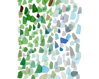 Original Watercolor Painting Sea Glass Art, Abstract Painting, Beach Finds