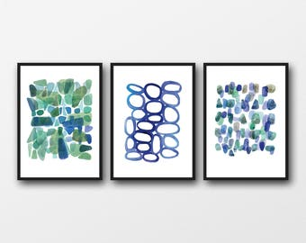 Nautical Style Watercolor Paintings, Set of 3 prints, Abstract Art inspired by the Beach