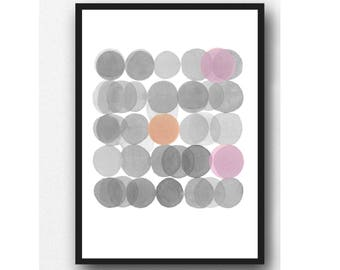 Watercolor Print Gray Pink Circles,  Minimalist Watercolor Painting,  Abstract Modern Home Decor, Abstract Watercolor print
