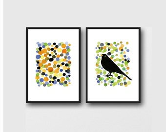 Gift for Bird lover, Modern wall art, set of 2 prints, bird prints, watercolor prints, colorful wall art, office art, home decor