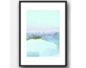 Landscape Painting, Fine Art Print,  Blue Shore The Dutch Wadden Sea Islands