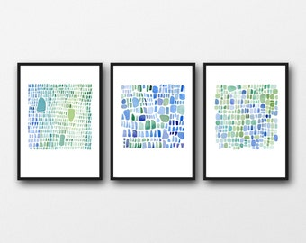 Abstract watercolor prints set of 3, watercolor paintings blue green, abstract paintings