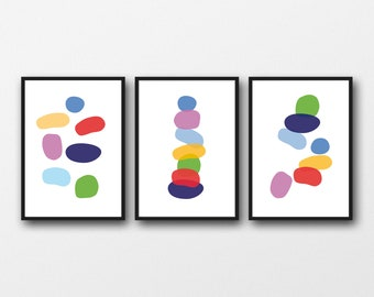 Colorful Wall Art Pebbles Art, Nursery room decor, Set of 3 Prints, Watercolor Prints Bold colors