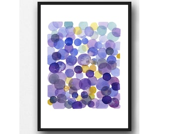 Ultra Violet Pantone 2018, Watercolor Print Purple Dots Watercolor Painting, Minimal Abstract painting, Modern Wall Art