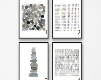 Abstract Art Prints, Set of prints, Minimal Watercolor Paintings,  Giclee Prints, Gray Minimal Art