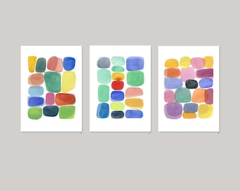 Colorful Abstract Art, Set of 3 Prints, Watercolor prints, Watercolor Art, Abstract paintings, Colorful home decor