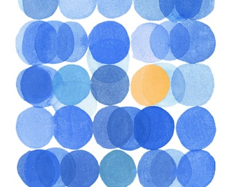 Circles Art Print, Abstract Watercolor Print, Modern Minimalist Wall Art