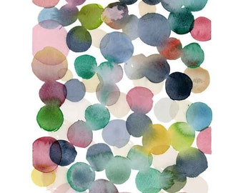 Gift of art giclee watercolor  print - Watercolor print - Colorful bubbles painting  Nursery room decor - giclee painting