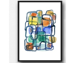 colorful art painting, Abstract Art print, Abstract colorful painting, Watercolor Print, Contemporary Watercolor Painting