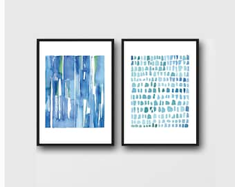 watercolor print set, blue watercolor paintings, set of 2 Watercolor prints, abstract paintings