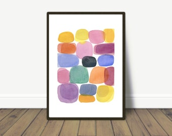 Colorful Watercolor Painting - Color blocks - Abstract Watercolor Print for livingroom