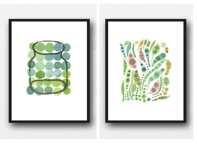 Featured listing image: Set of 2 prints, Kitchen Art, Green Peas and Pods, Watercolor Prints