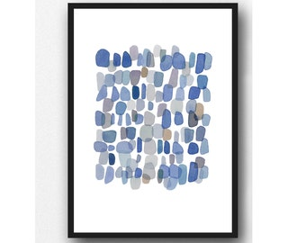 Blue Watercolor painting, Indigo Rain, Sea Glass Art Print