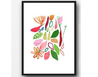 Floral wall art, gift for her, Kitchen wall decor, floral watercolor print, colorful art print
