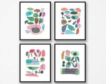 Set of 4 prints, Abstract Watercolor Prints, Scandinavian Design, Kitchen decor, Gallery Wall prints